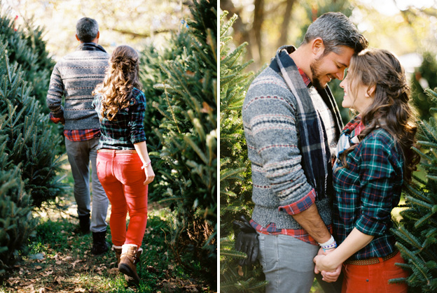 christmas tree farm engagement