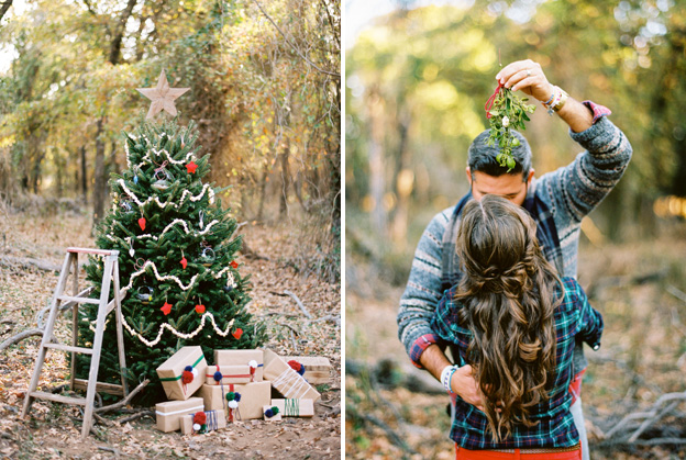 christmas tree engagement session